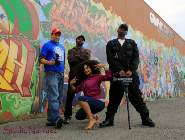 Left to right: Scott Macklin, Mike Clark, Laura Piece Kelly, and Georgio Brown during the filming of Top Left. Photo by Pablo D. Narvaez