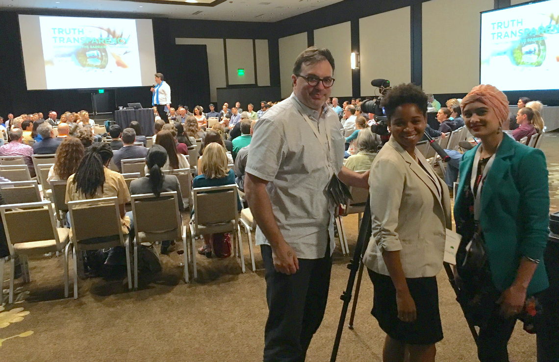 Associate Director Scott Macklin and students Ashley Johnson and Ala' Khan man the camera at the Living Future unConference.