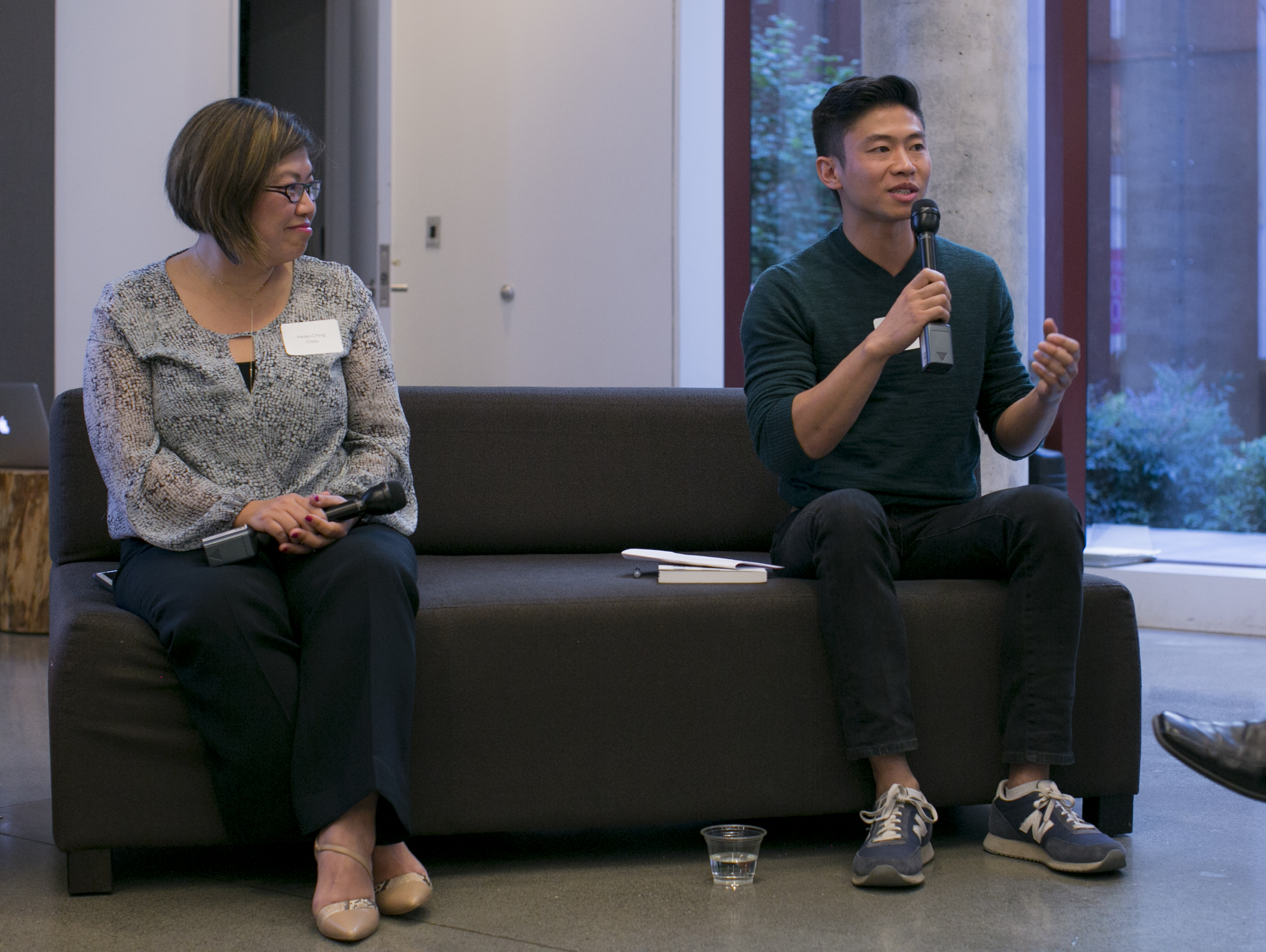 Hsiao-Ching Chou (L) and Philip Deng (R) share their experience in community building through food. Photo by Ilona Idlis.