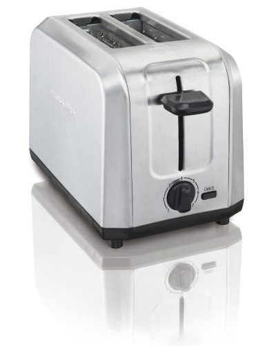 A standard top loading toaster, made of silver metal with black handle and knob