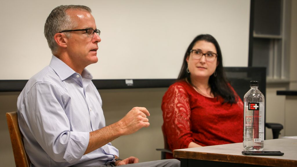 Former FBI Director Andrew McCabe visits our Crisis Comms class