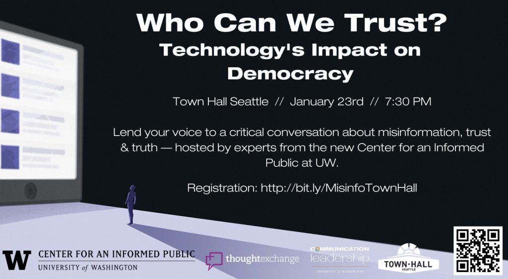 Poster with information about Who Can We Trust event at Town Hall Seattle January 23rd
