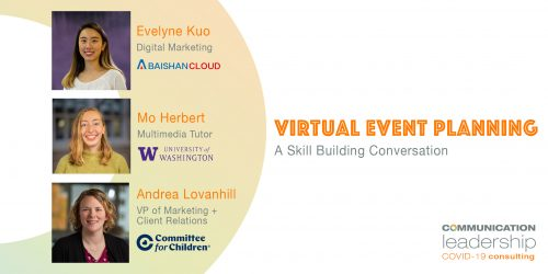 images of Evelyne Mo and Andrea alongside virtual event planning title