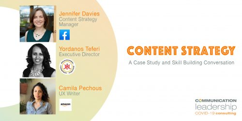 images of panel speakers next to text content strategy a case study and skill building conversation