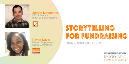 images of Jordan Melograno and Raven Davis aside text storytelling for fundraising